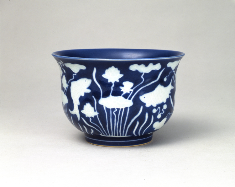 瑠璃釉魚藻文鉢