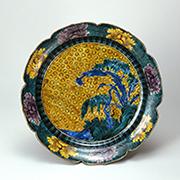 色絵芭蕉柳図輪花鉢