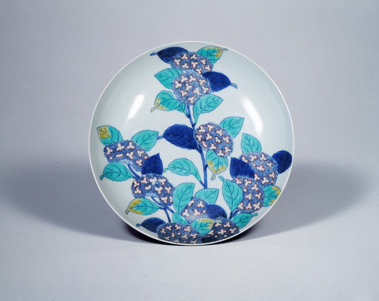 色絵紫陽花図皿